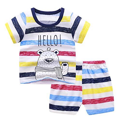 LEXUPE Kleinkind Kind Baby Jungen Mädchen Kurzarm Cartoon Tops Shirt + Hosen Outfits Set(B-Dunkelblau,110)