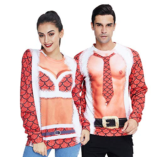 Couples Christmas Sweatshirt Stylish 3D Fake Bikini Bra Ugly Xmas Sweater Pullover T-Shirts Long Sleeve Red Mermaid Fish Scale Jumpers Outwear for Men Women