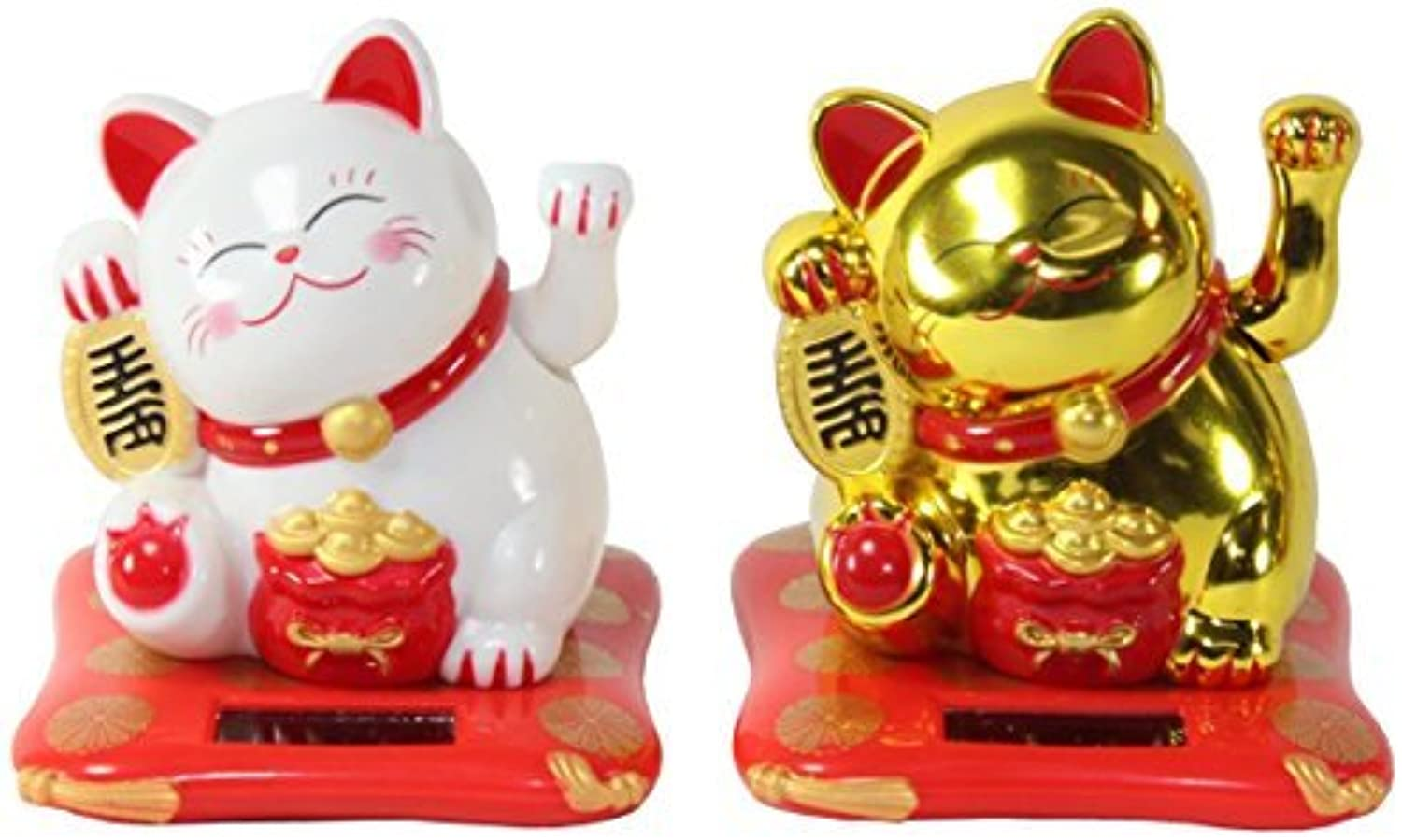 Set of 2 Small White & gold Happy Beckoning Fortune Happy Cats Maneki Neko Solar Toy Home Decor Business Part Gift We Pay Your Sales Tax by We pay your sales tax