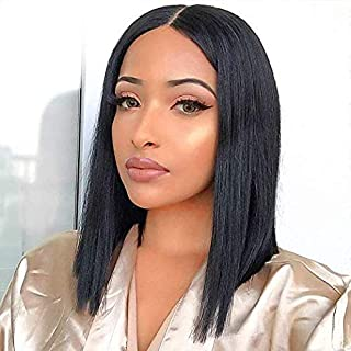 """12"""" Straight Lace Front Wigs Middle Part Short Bob Wigs For Women Brazilian Human Hair Wigs Natural Black Color (12"""
