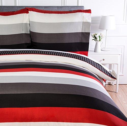 Amazon Basics Parure de lit avec housse de couette en microfibre, 140 x 200 cm, Rayures rouges simples