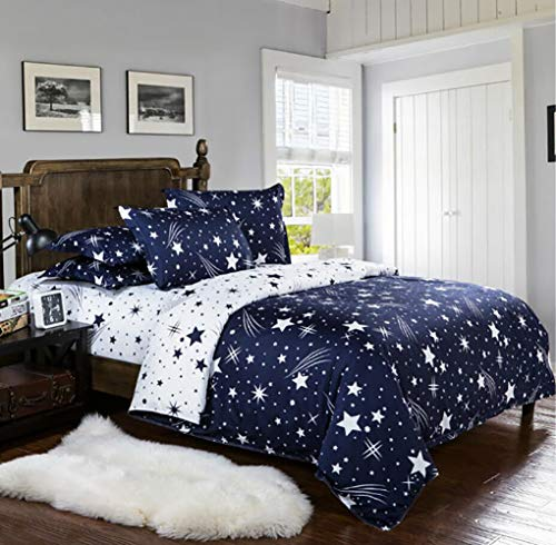Lanqinglv Stern Bettwäsche 220x230 Reißverschluss Blau Weiß Sterne Muster Bettbezug Deckenbezug Perfekt für mädchen Kinder Erwachsene mit 2 Kissenbezug(220x230)
