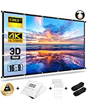 Abosi Projector Screen 16:9 HD Foldable Anti-Crease Portable Projection Movies Screen for Home Theater Outdoor Indoor Support Double Sided Projection