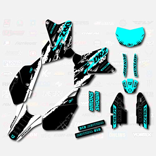 White & Cyan Slick Graphics Kit fit Suzuki DRZ400SM Drz400s drz400 S upermoto DRZ
