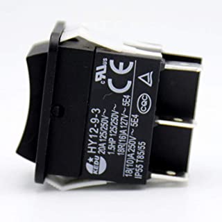 Industrial Electric Pushbutton Switches KEDU Large Current On Off On Rocker Switch HY12-9-3 1.5HP 6Pins Tab 20A 125/250V, 2-Pack
