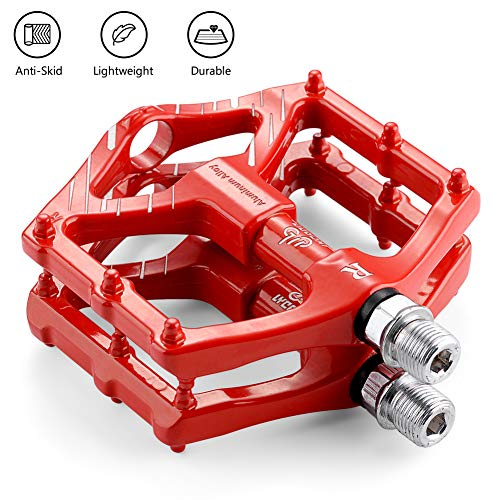LYCAON Pedali per Bicicletta Leggero 0.64lb / Coppia Antiscivolo CR-Mo in Alluminio con Cuscinetto a Sfere sigillato CNC, 3 Cuscinetti Pedali Pedali Bici per MTB BMX con Chiave (Rosso(2DU Bearing))