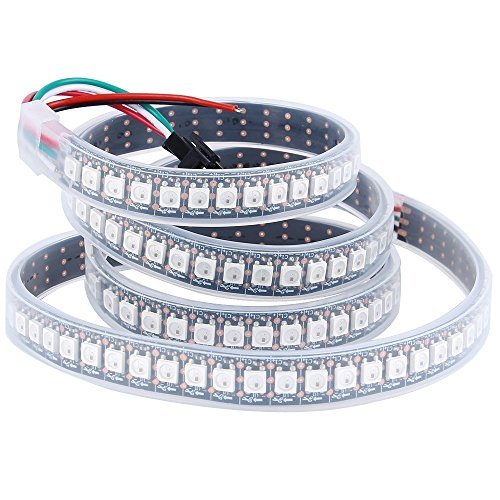 CHINLY 1m 144leds WS2812B Individuell adressierbar LED Streifen Licht SMD5050 RGB 144 Pixels Traumfarbe Wasserdicht IP67 Schwarz PCB 5V DC