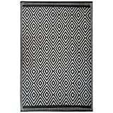 Outdoor Plastic Straw Rug - Perfect as Picnic Mat or Camping Rugs for Outside Your RV - Brighten up Your Patio - Waterproof Polypropylene Mat - Diamond Design by Funky Strokes (Black & Gray, 4' x 6')