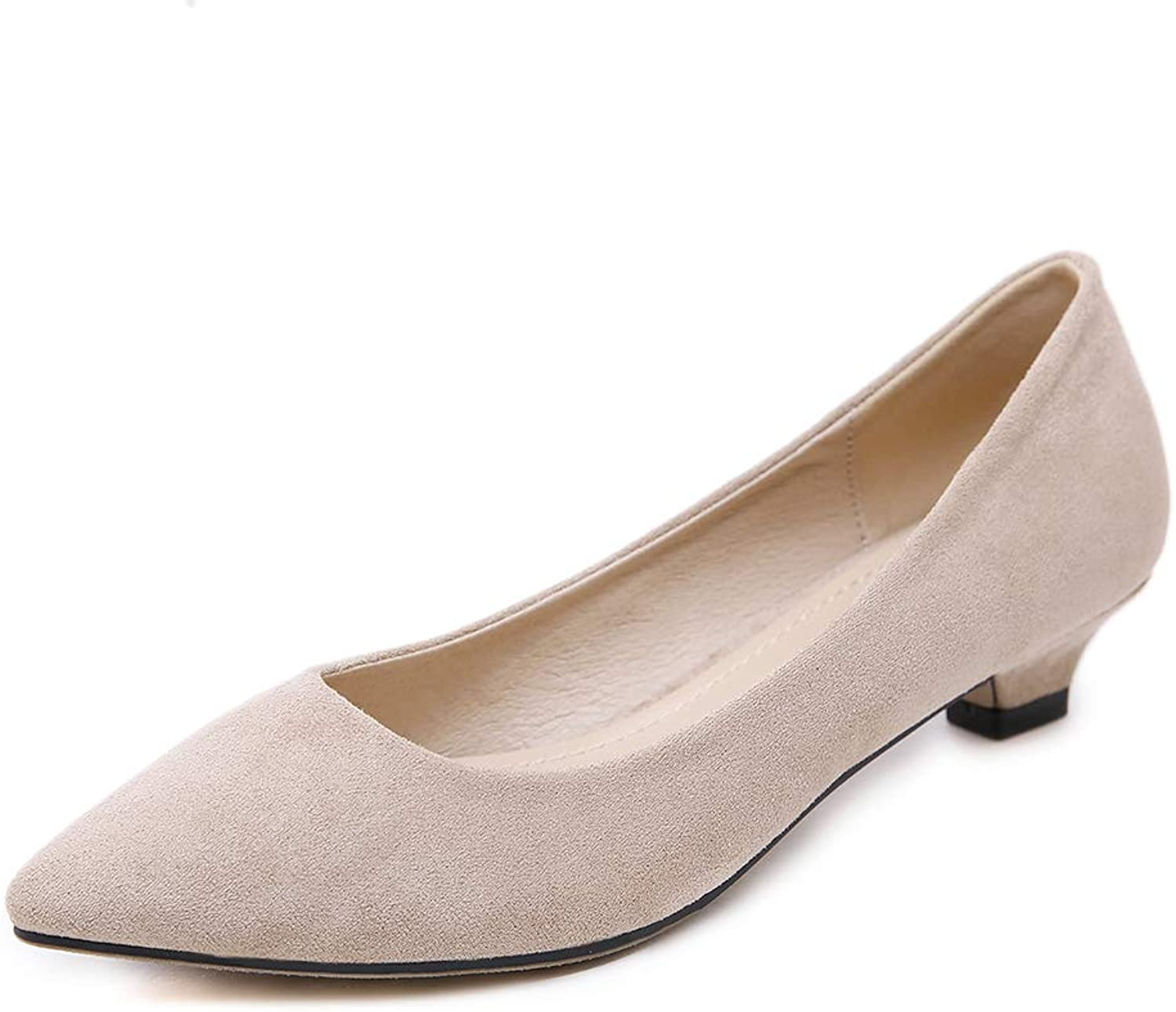 AGOWOO Womens Fashion Pointed Toe Suede Dress Nude shoes Kitten Heels Pumps
