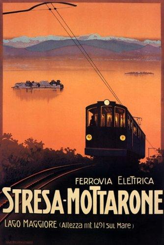 "WONDERFULITEMS FERROVIA ELETRICA STRESA MOTTARONE Lake LAGO Maggiore Italy Italia 20"" X 30"" Image Size Vintage Poster REPRO"