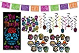 Day of The Dead Party Supplies Decorations, Día de Los Muertos Plastic Picado Style Pennant Banner, Hanging Whirls, Door Cover, Sparkle Confetti & Mini Cutouts for Day of The Dead Decor