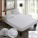 Poly-Cotton Quilted Mattress Protector Microfiber Fitted 30cm Deep Skirt Soft Touch for Extra