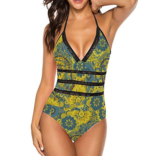 Yellow and Blue Paisley Boho Style, Women One Piece Bikini Swimsuit, V Neck Beach Swimwear Bathing Suit