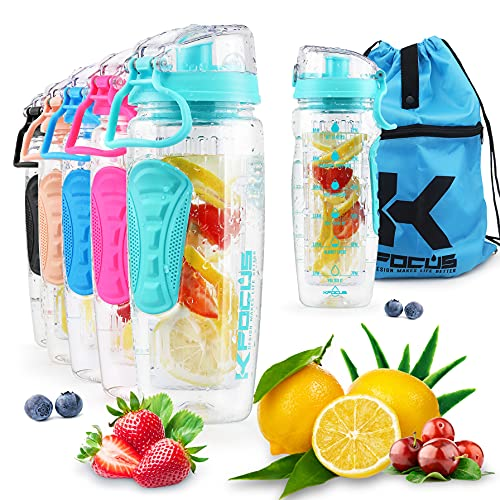 KFOCUS 32oz Fruit Infuser Sports Water Bottle for Delicious Drink, Motivational Clear Water Bottle with Time Marker, Filter and Full Length Infusion Rod, Durable BPA Free Tritan, Flip Lid, Leak Proof