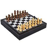 LIUSHI Juego de ajedrez Juegos de Mesa de ajedrez Juegos de ajedrez para Principiantes, niños y Adultos, Tablero de ajedrez Blanco y Negro, Juego de Mesa clásico para Actividades Familiares de Fiesta