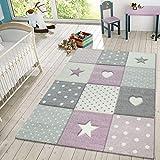 TT Home Alfombra Infantil Juego Cuadros Puntos Estrellas Corazones Pastel Púrpura Y Gris, Größe:80x150 cm
