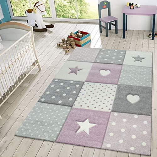 TT Home Alfombra Infantil Juego Cuadros Puntos Estrellas Corazones Pastel Púrpura Y Gris, Größe:120x170 cm