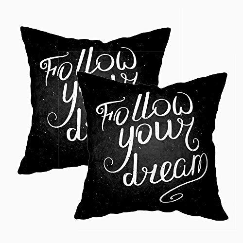 Funda de cojín de suelo, fundas de cojín de sofá Fundas de almohada de camping Follow Your Dream Frase Decoración de caligrafía moderna Póster de pared Impresiones Tarjetas Otras camisetas Funda de co