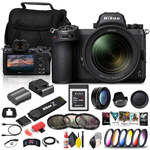 Nikon Z 7II Mirrorless Digital Camera 45.7MP with 24-70mm f/4 Lens (1656) + 64GB XQD Card + Corel Photo Software + Case...