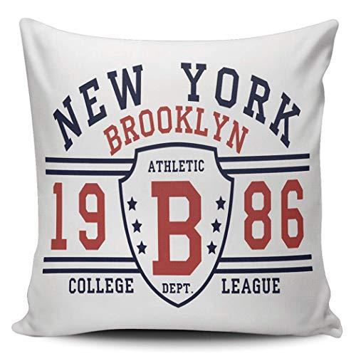 GOSMAO Funda de Almohada Liga Universitaria de Brooklyn de Nueva York Algodón Lino Throw Pillow Case Funda de Almohada para Cojín 45x45 cm