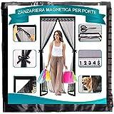 Timizi Zanzariera Magnetica Finestra 100x215cm, Ultra Silenzioso Zanzariere su Misura Anti Insetti Mosche Zanzare, per Corridoi/Porte/Patio. - Nero