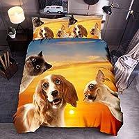 可愛い犬模様 欧式寝具カバーセット 掛け布団カバー 枕カバー 2点セット シングル