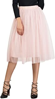 PERSUN Women's Tulle Skirts Ballet Layered Princess Midi Tutu Prom Party Skirt