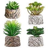 S.Lux Piante Grasse Verdi Decorative, Set di 4 Piante Artificiali Faux Cactus Piante Grass...