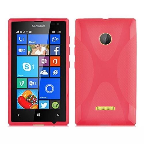 Cadorabo Hülle für Nokia Lumia 435 in Inferno ROT – Handyhülle aus flexiblem TPU Silikon – Silikonhülle Schutzhülle Ultra Slim Soft Back Cover Hülle Bumper