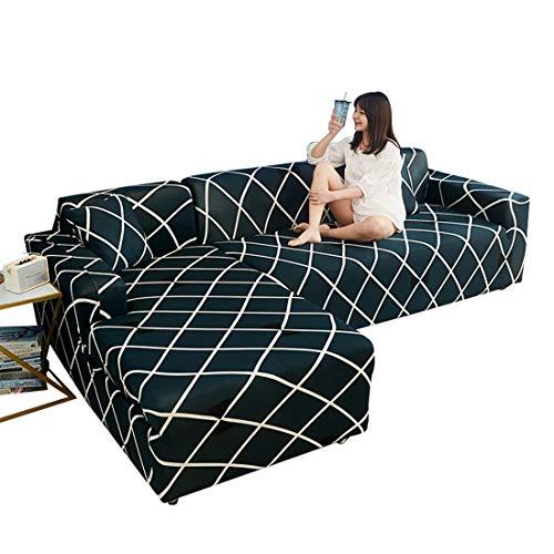 Bverionant Funda de Sofá Chaise Longue Elástica Proteger Cubre Sofá Estampada Moderna Acolchado para Mascotas Casa #10 4 Asientos 235-300cm