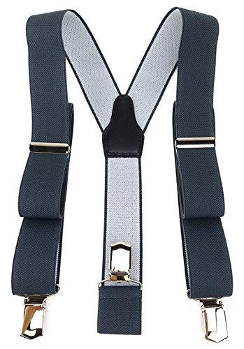 TigerTie Unisex Hosenträger in Y-Form mit 3 extra starken Clips - Farbe in anthrazit einfarbig Uni - hochwertige Verarbeitung - Breite 35 mm