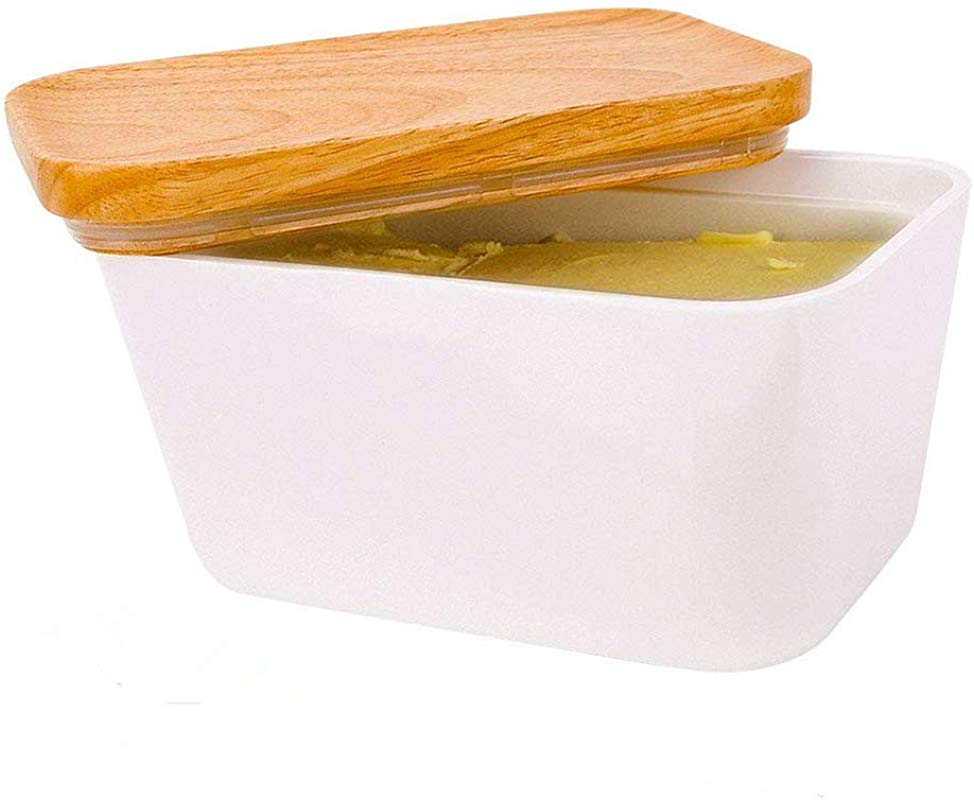 Butter Dish Imitation Ceramics Butter Keeper Container With Wooden Lid