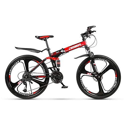 26 Zoll Mountainbike, Scheibenbremsen Hardtail MTB, Trekkingrad Herren Bike Mädchen-Fahrrad, Vollfederung Mountain Bike, 27 Speed,Rot,Three cutter wheel
