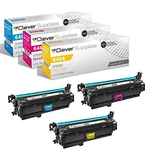 CS Compatible Toner Cartridge Replacement for HP CM4540 MFP CF031A Cyan CF032A Yellow CF033A Magenta HP 646A Color Laserjet CM4540f MFP Color CM4540 Color: 12500 Each Page Yield 3 Color Set
