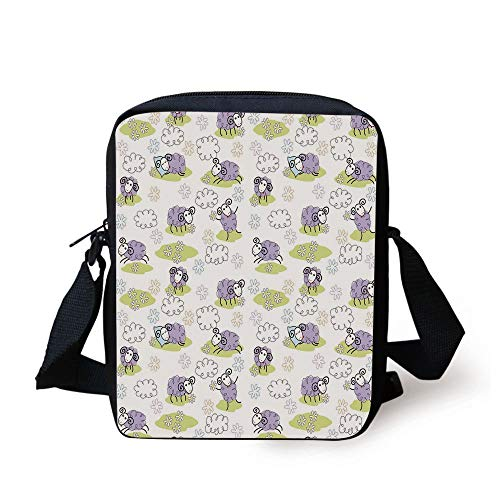 Doodle,Cute Sheep with Clouds Constructed Out of Dots Happy Animals Child Friendly Print Decorative,Lavender Print Kids Crossbody Messenger Bag Purse