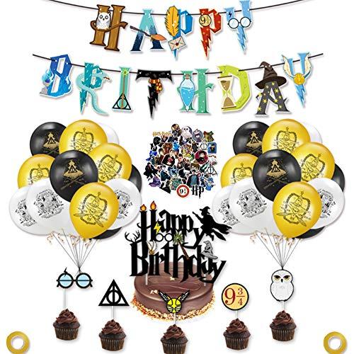 Mago Decorazioni Compleanno con adesivi graffiti,Harry Stregone Compleanno Forniture per Feste,Compleanno Forniture per Feste,Wizard Set di Forniture per Feste Decorazioni Palloncini per Bambini