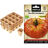 Connex - Macetas De Turba, 48 Unidades, 4 Filas + Semillas Ecológicas Hortícolas - Tomate Tres Cantos Gigante Rosa - Eco - Batlle