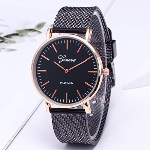 TAOHOU - Reloj de Pulsera de Metal Casual Wos Geneva Wos clásico, Correa Negra, Superficie Trasera