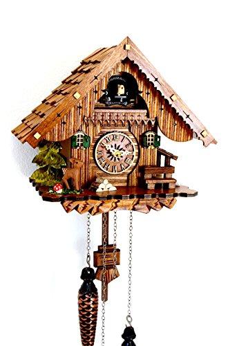 Schwarzwälder Kuckucksuhr Schwarzwaldhaus Quarzwerk Schindeldach echtes Holz