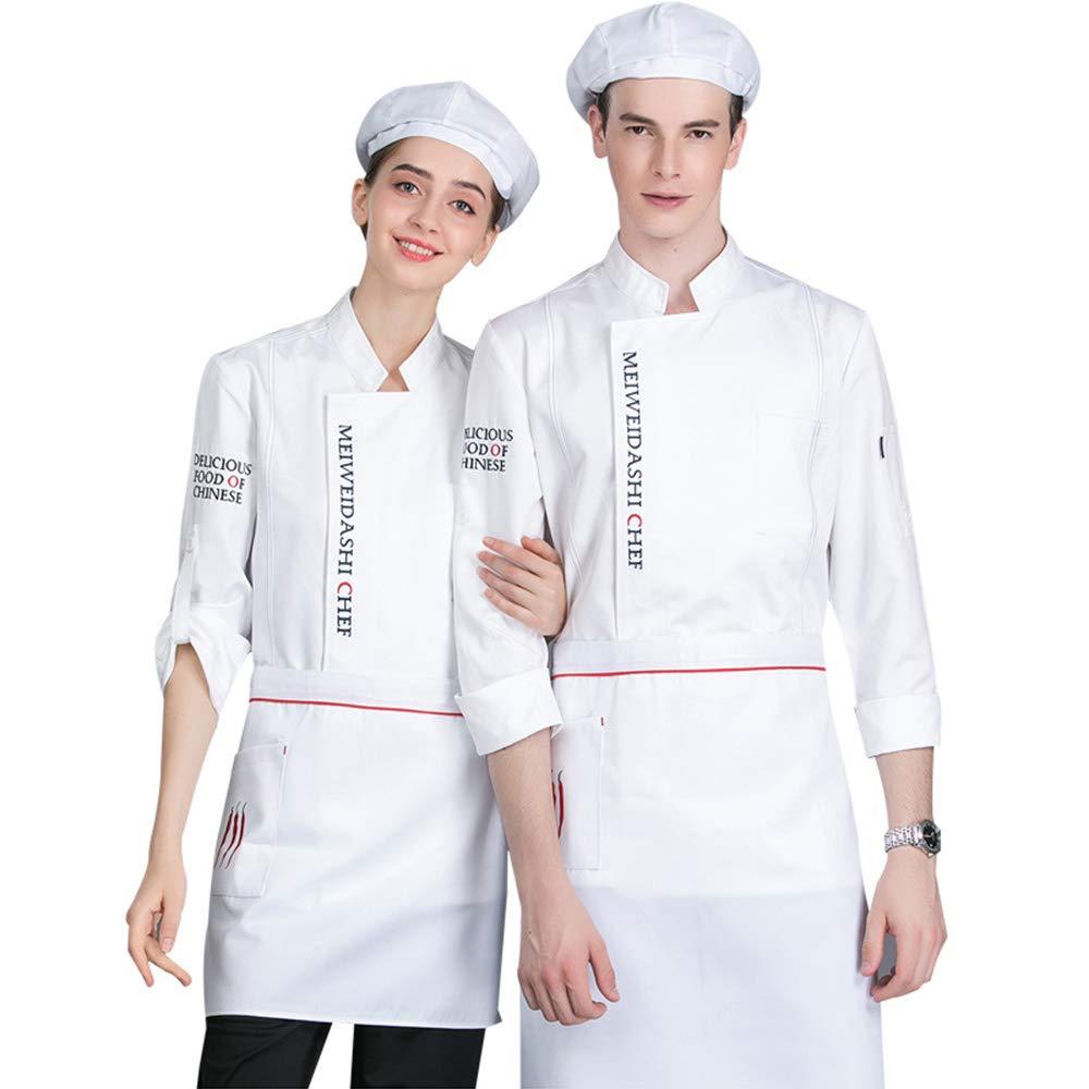 XRRa&XF Unisexo Mujeres Hombre Verano Manga Larga Camisa de Cocinero Transpirable Chaquetas de Chef Uniforme Cocina Restaurante Occidental,003,M: Amazon.es: Deportes y aire libre