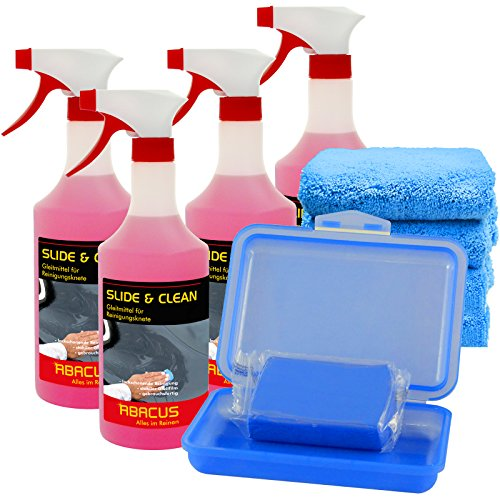 ABACUS Reinigungsknete blau mittelstark mit 4X Gleitmittel und 4X Tüchern (7313)