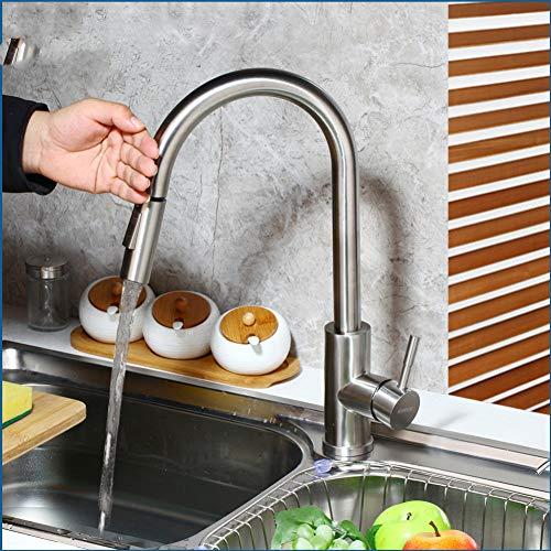 BFLO Kraan RVS Touch Control Keukenkranen 3 kleuren Smart Sensor Keukenmengkraan Touch Kraan Keuken Pull-down gootsteenkraan