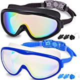Braylin Adult Swim Goggles, 2-Pack Wide Vision Swim Goggles for Men Women Youth Teen, Anti-Fog No Leaking