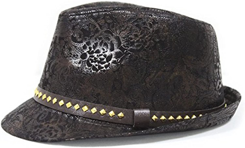Liufeilong Hat, British Wind Curling PU Belt Buckle Square Rivet hat Spring and Autumn Winter Phoenix Pattern Printed Jazz hat