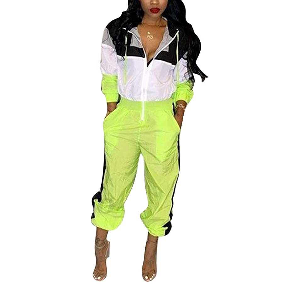 Aro Lora Women's Long Sleeve Color Block Hoodies One Piece Pant Outfit Casual Sport Jumpsuit Romper