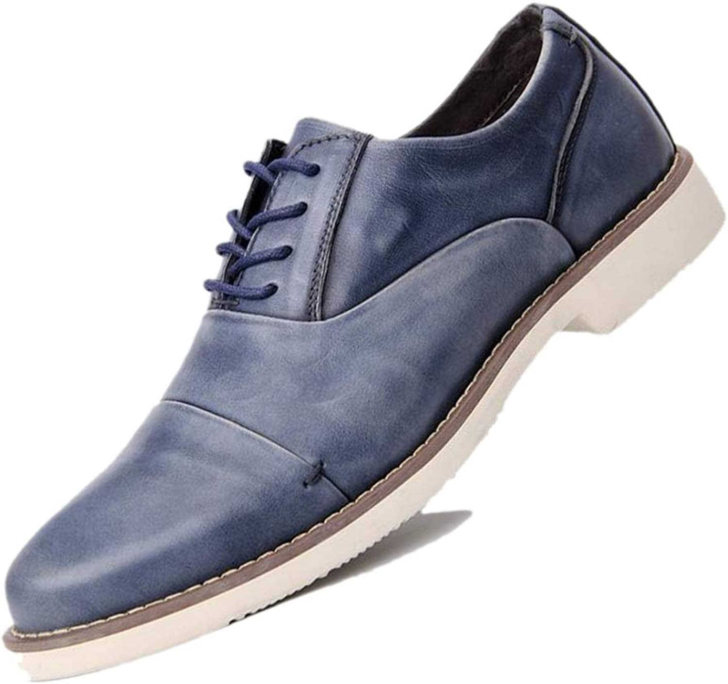 Business Gentleman Derby Pointed Gentleman Men's Dress shoes bluee Brown Breathable