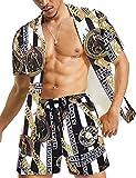 Mens Button Down Short Sleeve Shirt Black Shirt Hawaiian Shirts Halloween Outfits Summer Outfits Sets Outfits 2 Piece Home Outfit Hawaiian Shirt Polo Sweatsuit Clothing Summer Casual Walking Suits