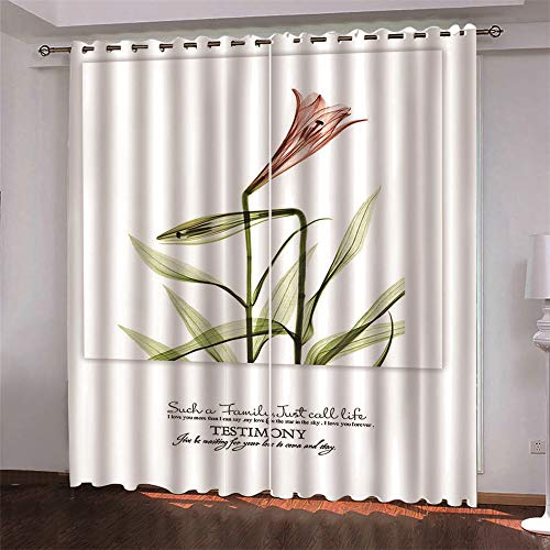 Michance 3D Digital Printing Curtain Suitable For Curtains In Hotels, Living Rooms And Bedrooms Blackout Curtains That Effectively Protect Personal Privacy 2 Pieces