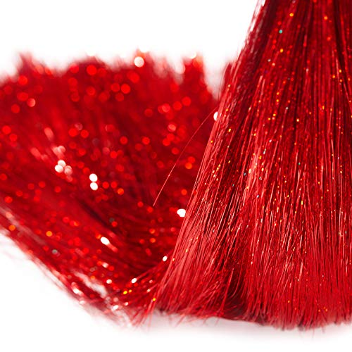 Boao 10000 Strands Icicle Tinsel Tree Decorations Iridescent Tinsel Foil Fringe for Home Holiday Birthday Graduation Supplies Hair Decoration Funny Cat (Red)