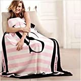 Victoria VS Secret Spring/Autumn Pink Coral Fleece Fabric Blankets Size Flannel Bedding Article Small Blanket